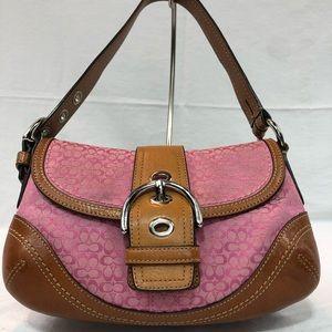 COACH pink mini signature handbag